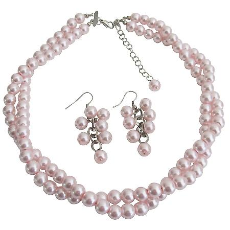 Wedding Bridesmaid Bridal Jewelry Stunning Pink Pearl Twisted Necklace With Grape Earrings