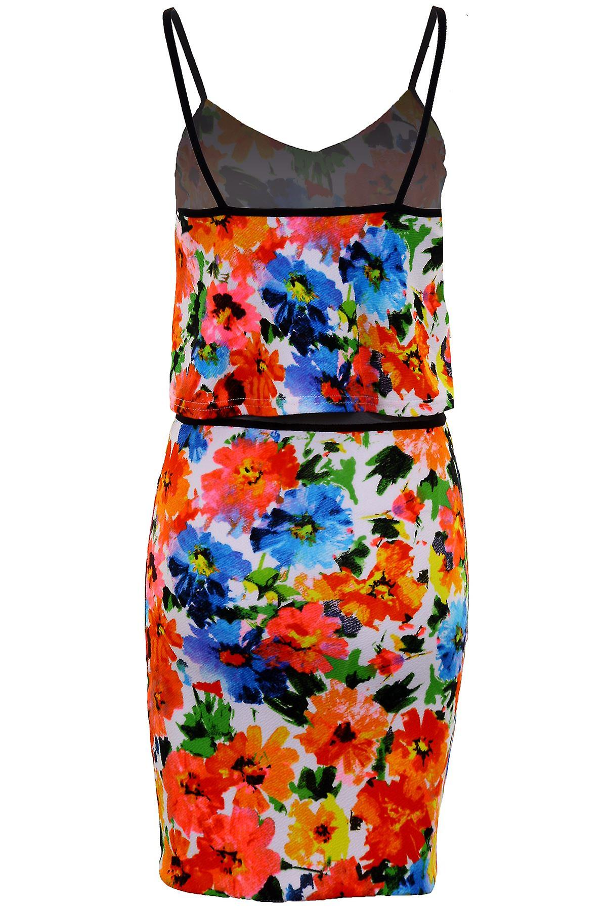 Ladies Strappy Textured Mulitcolour Floral Mesh Insert Frill Women's Bodycon Dress