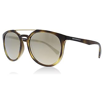 Emporio Armani EA4103 50265A Havana EA4103 Round Sunglasses Lens Category 3 Lens Mirrored Size 56mm