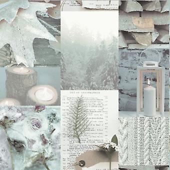 Arthouse Natural Shabby Chic Log Candle Leaf Brown Cream Taupe Beige Wallpaper