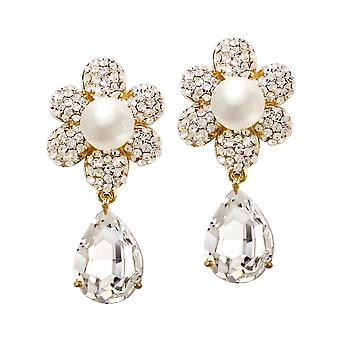 Eternal Collection Candide Cubic Zirconia And Austrian Crystal Gold Tone Drop Clip On Earrings