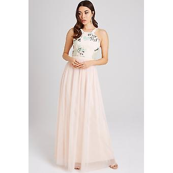e430a3ab807ad Little Mistress Bea Nude Sequin Maxi Dress