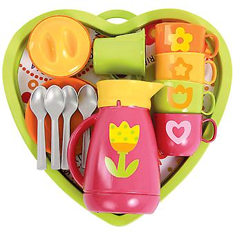 Gowi Toys Heart Service Play Set (Pink - 18 Pieces) Pretend Play Children Kids