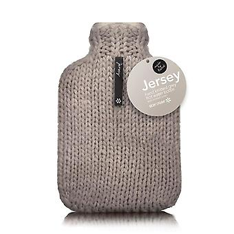 Jersey Designer Chunky Hand Knit 2L Hot Water Bottle: Grey