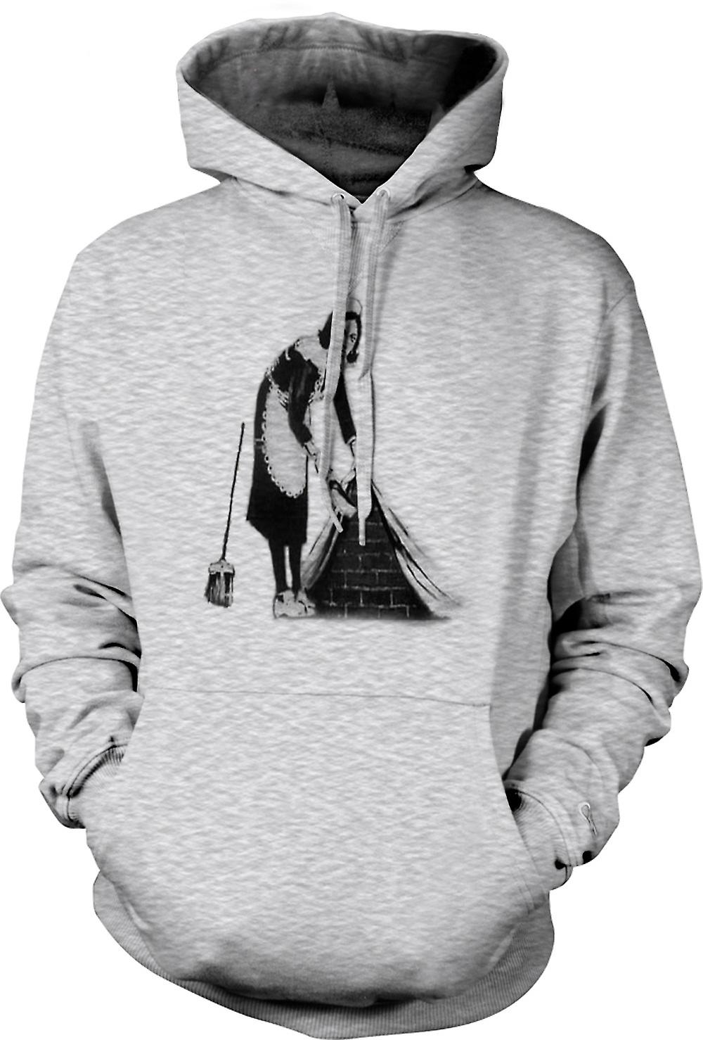 Mens Hoodie - Graffiti Banksy Art - Maid
