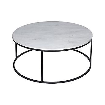 Gillmore Space White Marble And Black Metal Contemporary Circular Coffee Table
