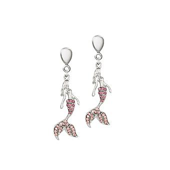 Eternal Collection Marina The Mermaid Crystal Silver Tone Drop Clip On Earrings