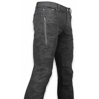 Exclusive Ripped Jeans-Slim Fit Biker Jeans Camouflage-Black