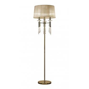 Mantra Tiffany Floor Lamp 3+3 Light E27+G9, Antique Brass With Soft Bronze Shade & Clear Crystal