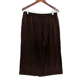 Susan Graver Women's Pants Weekend Stretch Cotton Modal Brown A278905