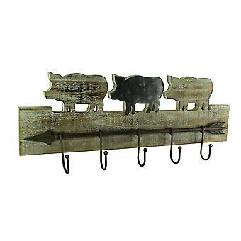 Rustic Wood Farmhouse Decorative Metal Arrow Wall Hook