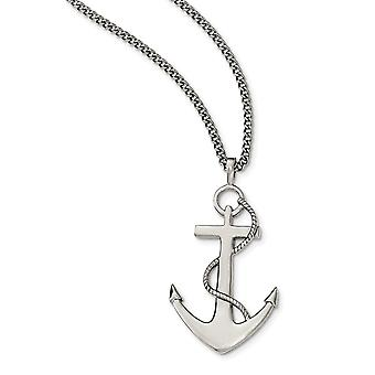 Stainless Steel Polished Anchor Necklace - 24 Inch