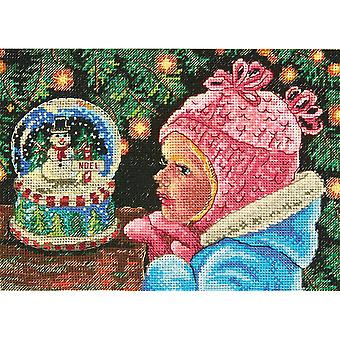 Gold Petite Christmas Wishes Counted Cross Stitch Kit-7