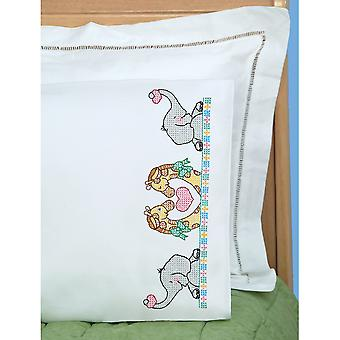 Children's Stamped Pillowcase With White Perle Edge 1 Pkg Noah's Ark 1605 39