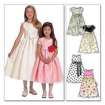 Children's Girls' Lined Dresses And Sash  Chj 7  8  10  12  14 Pattern M5795  Chj
