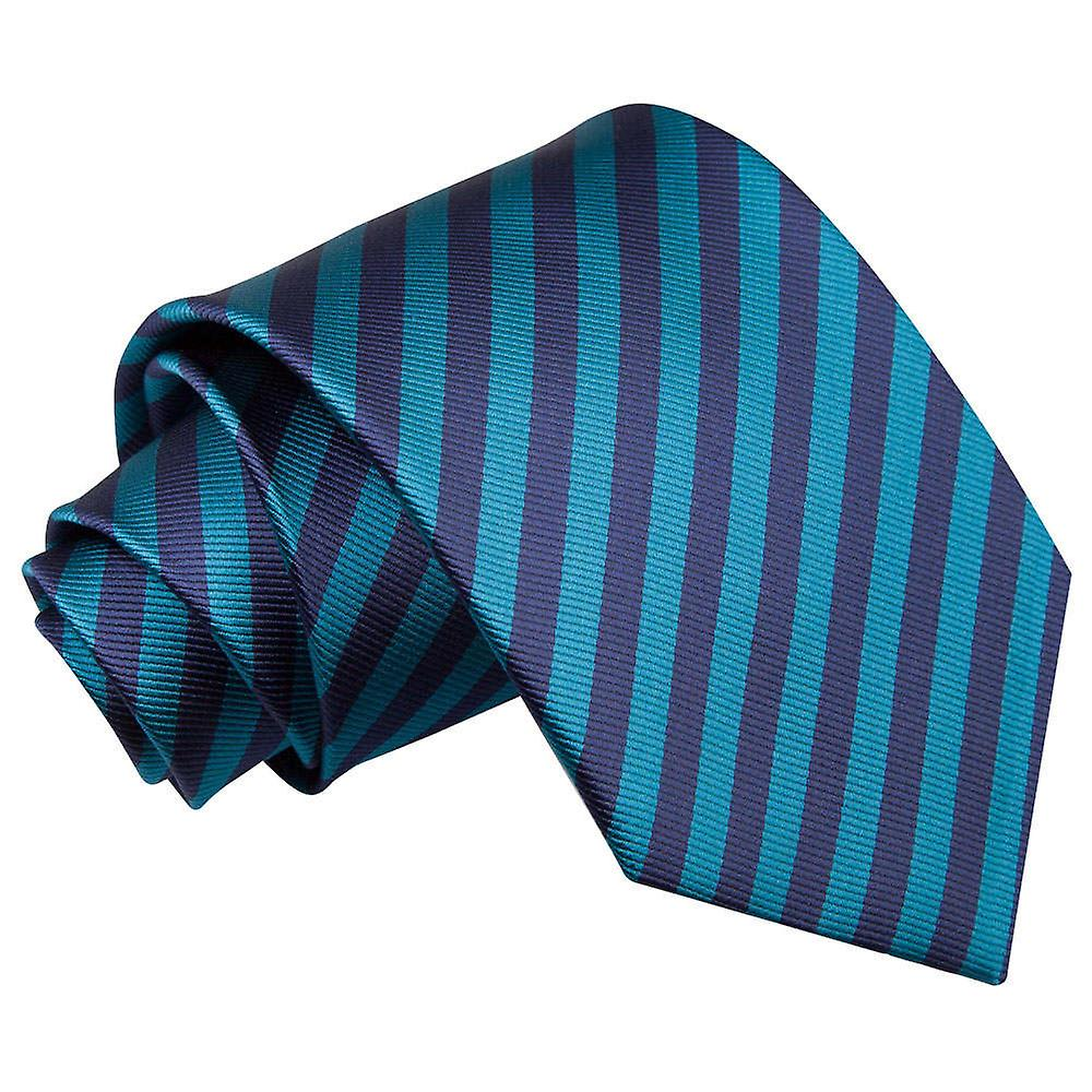 Thin Stripe Navy Blue & Teal Tie