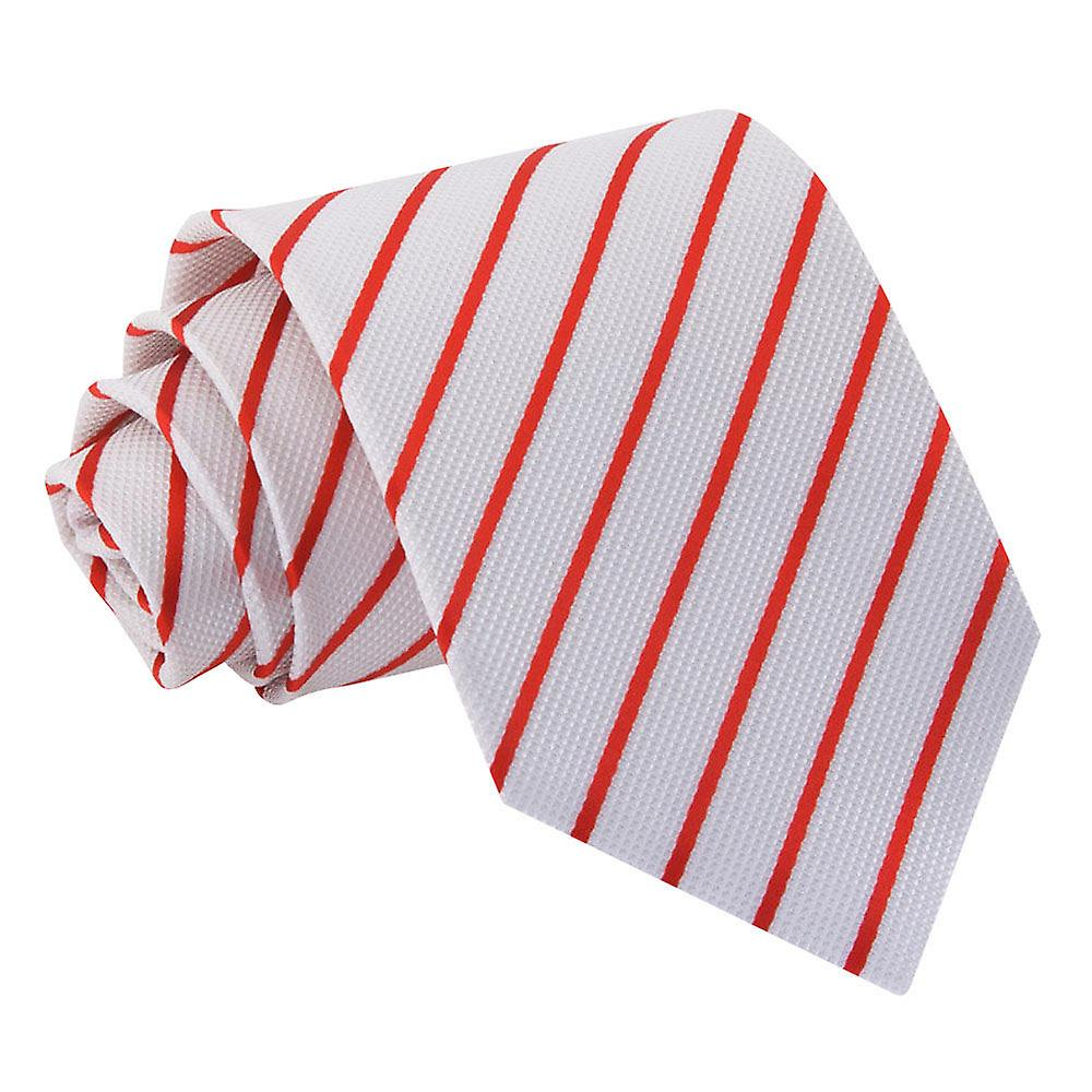Single Stripe White & Red Tie