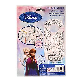 Disney frosne farvning sæt inkluderer 8 farve plader, 6 blyanter og 1 klistermærker