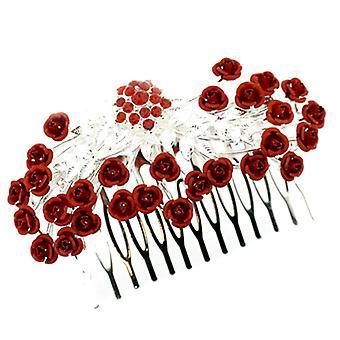 Rött och Siam Crystal Rose blomma bukett hårkam