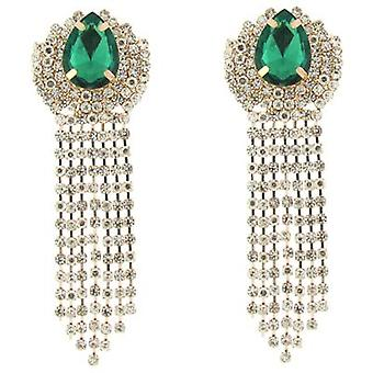 Clip On Earrings Store Emerald Stone  and  Clear Diamante Crystal Chandelier Drop