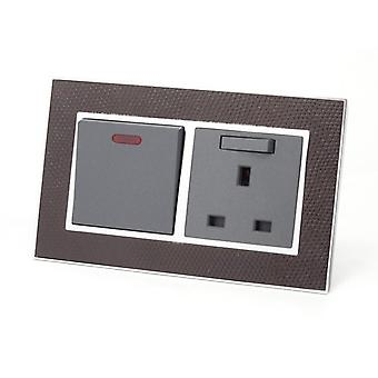 I LumoS AS Luxury Goat Skin Leather Double 45A Switch with Switched 13A UK Socket