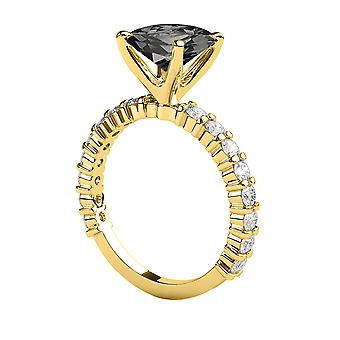 1.90 CTW Black Diamond Ring 14K Yellow Gold Princess Cut Solitaire With Accents Designer