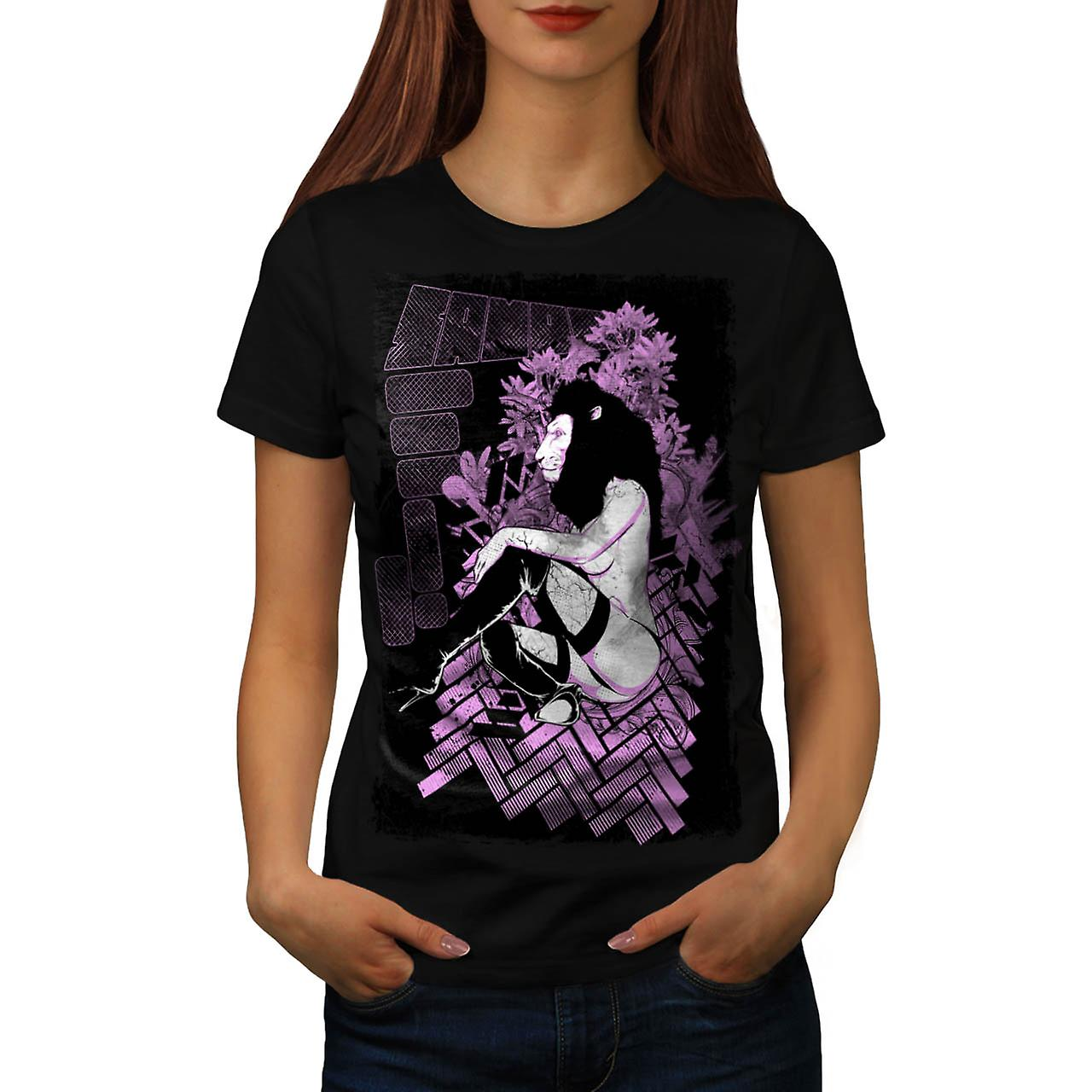 Tease Queen Lion Mask Wild Girl Women Black T-shirt | Wellcoda