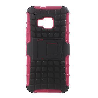 Dekking van de componenten van PC van twee kunststof en rubber TPU case voor HTC One M9 (roze)