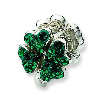 Sterling Silver Polished Antique finish Reflections Green Crystal Clover Bead Charm