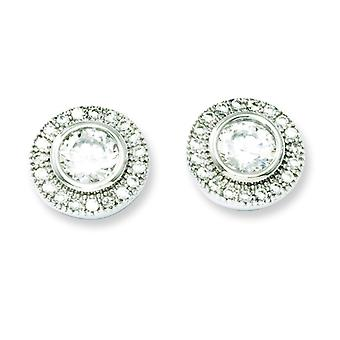 Sterling Silver and CZ Polished Post Earrings