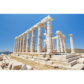 Gresk tempel ruiner Temple of Poseidon nær Athens PosterPrint