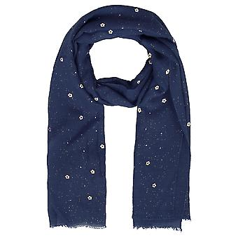 Navy Floral Print Glitter Scarf