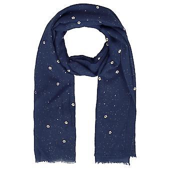 Marine Floral Print Glitter sjaal