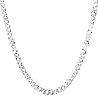 14k White Gold Comfort Curb Chain Bracelet, 3.6mm, 7