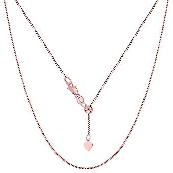 14k Rose Gold Adjustable Box Chain Necklace, 0.7mm, 22