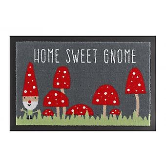 Deurmat vuil overlapping pad home sweet GNOME grijs rood 40 x 60 cm