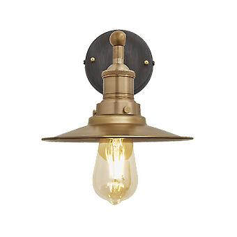 Brooklyn Vintage antik Sconce væg lampe - flad skygge - messing - 8