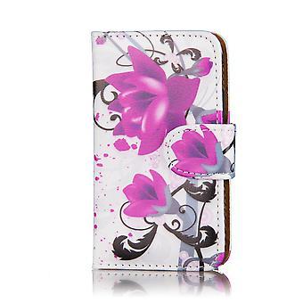 Design book wallet PU leather case for Nokia Lumia 1320 - Purple Rose