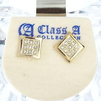 Iced Out Bling Ohrstecker Box - SHAPE 8mm gold