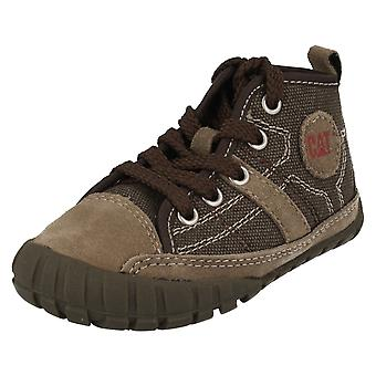 Jongens Casual CAT Lace Up Mid Cut laarzen Lingo Canvas
