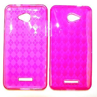 Deluxe Silicon PU Skin Case for HTC Droid DNA - Transparent Hot Pink