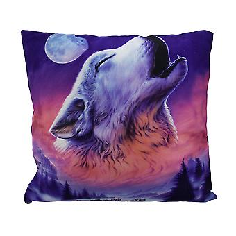 Night Howl Winter Wolf Head Baying At The Moon Throw Pillow 17 Inch