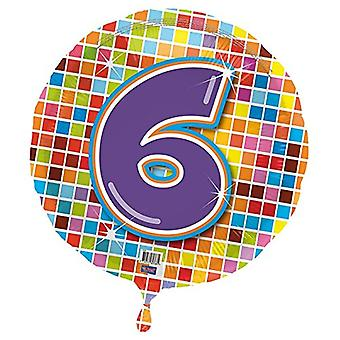 Foil balloon birthday number 6 disco helium balloon 43 cm balloon