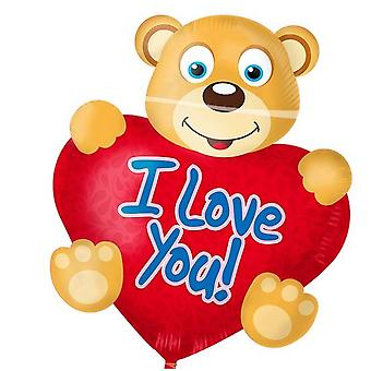 Folie ballong Björn med hjärta jag älskar dig heliumballong ballong 61 x 76 cm