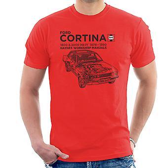 Haynes eigenaren Workshop handmatige Ford Cortina zwart T-Shirt voor mannen