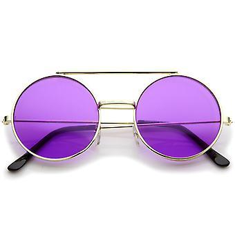 Midten af størrelse Flip-Up farvet linse runde Django solbriller 49mm