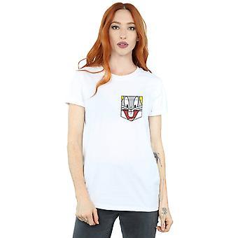 Looney Tunes Women's Bugs Bunny Face Faux Pocket Boyfriend Fit T-Shirt