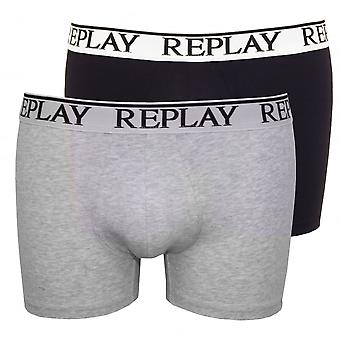 Replay 2-Pack Classic Logo Boxer Trunks, Navy/Grey