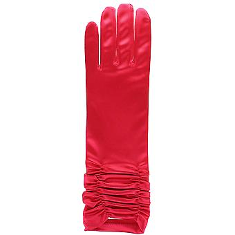 Short Red Ruffled Satin Fancy Dress Gloves