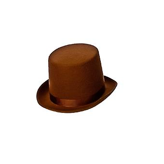 Adults Faux Suede Brown Top Hat Fancy Dress Accessory